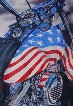 All American Hawg by Tammy Meeske Watercolor, framed ~ 28 x 22