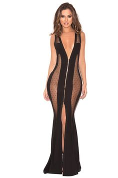 Clothing : Max Dresses : 'Margeaux' Black Bandage and Mesh Maxi Dress Hot Dress, Sheer Dress, Bodycon Dress, Couture Dresses, Women's Fashion Dresses, Beautiful Dresses, Nice Dresses, Max Dresses, Transparent Clothes