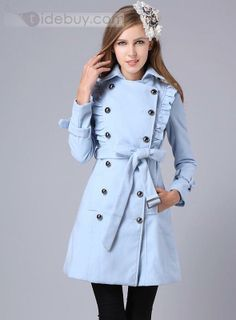 NEW lady office Gorgeous Tulle Double Breasted Wool Blue Jacket Coat 142 Winter Coats Women, Coats For Women, Jackets For Women, Beach Hippie, Long Wool Coat, Wool Coats, Rain Coats, Trench Coats, Double Breasted Coat