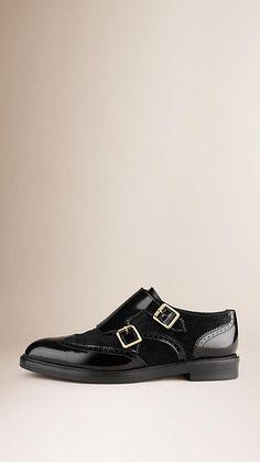 Black/black Leather and Calfskin Wingtip Shoes - Image 2