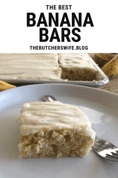 The BEST Banana Bars you will ever eat! Sweet, moist and full of delicious banana flavor with a smooth cream cheese frosting Banana Recipes Easy, Banana Dessert Recipes, Easy Banana Bread, Fun Desserts, Delicious Desserts, Apple Bread, Cake Recipes, Yummy Snacks, Yummy Treats