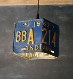 Vintage Industrial Blue Pendant Lamp Repurposed Assemblage Hanging Studio Light