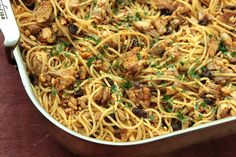 This sounds so good!  Pasta with roasted chicken, raisins, pine nuts, and parsley.