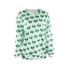 Alien Invasion Emoji Unisex Sweater Ladies Sweatshirt Fashion Shirt ($33) ❤ liked on Polyvore featuring tops, hoodies, sweatshirts, black, pullovers, sweaters, women's clothing, pullover shirt, black sweatshirt and shirts & tops