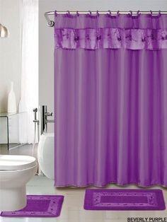 4 Piece Luxury Embroidered Bath Rug Set/ 3 Piece Purple Bathroom Rugs With  Fabric Shower
