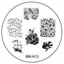 2013 Holiday Nail Stamping Plate BMH13 - Turkey Cornucopia + Thanksgiving