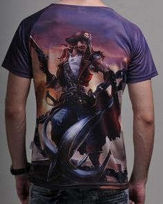 League of Legends mens tshirt short sleeve for summer 5XL 3D Gangplank-