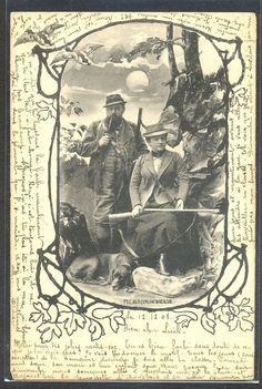 NR060 VIENNE a/s SCOLIK COUPLE HUNTERS GUN DOGS DUCKS in FRAME 1901