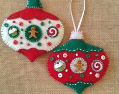 Christmas felt ornaments set of 2 handmade felt by CraftsbyBeba
