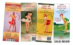 Personalized Ticket Style Vintage Pin-Up Golf Theme Birthday, Bachelorette Party, Special Occasion Invitaiton. $0.85, via Etsy.
