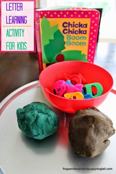 Chicka Chicka Boom Boom- Letter Learning Activity for Kids with homemade coconut playdough recipe by FSPDT #preschoolbookclub