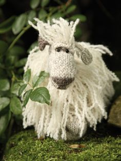 Oh, that face! Free knit pattern to download to make this cuddly toy, Miranda The Masham Sheep. Pattern by Janice Anderson, available at Knit Rowan.