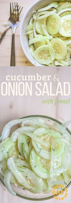 The classic Cucumber Onion salad couldn't be easier or tastier. Adding fresh fennel adds a delicious and bright twist!