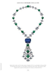 Bvlgari High Jewellery Italian Extravaganza necklace from the Magnificent Inspiration collection: velvety blue sapphire of carats from Sri Lanka, 12 emerald beads with a total weight of almost 40 carats, diamonds High Jewelry, Jewelry Art, Gold Jewelry, Jewelry Design, Lotus Jewelry, Bulgari Jewelry, Luxury Jewelry, Victorian Jewelry, Vintage Jewelry