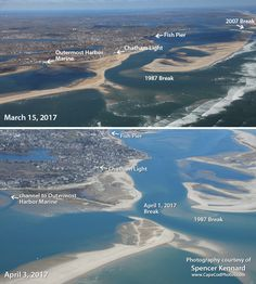 For the fourth time in 30 years, there has been a break in the beach off Chatham, MA.  Joining the breaks of 1987, 2007, and 2013 is the April Fools' Break of 2017.  This break occurred just south of Chatham Lighthouse, on part of the beach that had developed between 1987-92, connecting South Beach to the mainland.  With this new break, South Beach is an island again.  Photos by Spencer Kennard www.CapeCodPhotos.com