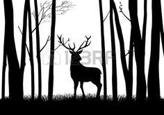animaux de la forêt: Silhouette d'un renne dans les bois Illustration
