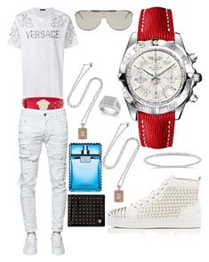 """Casual (Versace)"" by pitbull8382 on Polyvore featuring Dsquared2, Versace, Christian Louboutin, Breitling, Sabrina and Marco Ta Moko"