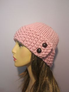 Pink or Pick Your Color Knit Hat with Genuine by UpNorthKnits
