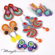 various soutache earrings with brilliant colors