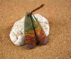 Red Creek Jasper Teardrop Earring Pair  Orange Purple by ABOSBeads