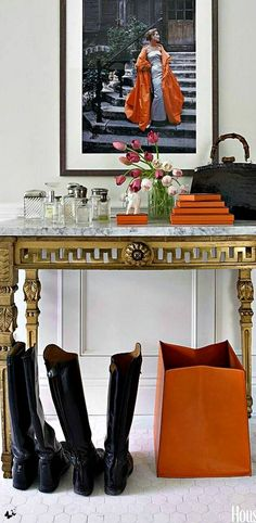 .I usually think of orange as a casual color, But it works with this Fab table! Etc.
