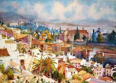 Geoffrey Wynne Acuarelas - Watercolours: VISTA DESDE SAN CRISTÓBAL, GRANADA - GRENADE, VIEW FROM SAINT CRISTOBAL