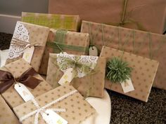 Wrap your gifts in brown paper as you buy them - then, as you have time, embellish on them. Great way to make sure you're not wrapping 50 gifts on Christmas Eve/Christmas morning!