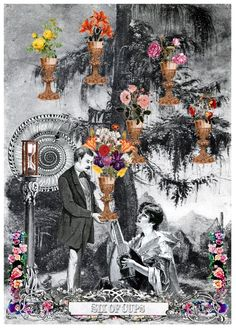 Six of Cups - Arthur Taussig Collage Tarot