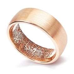 18ct Rose Gold 8mm Fingerprint Wedding Ring by SerendipityDiamonds