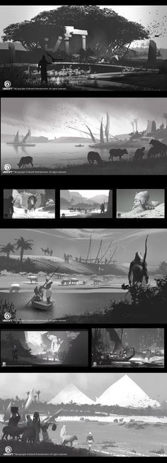 um , Keyi Li : Some sketches to explore features of fayoum in assassin`s creed origin by 2 years ago. Through this project, I learn a lot from Ubisoft Singapore senior Art director Mohamed Gambouz. Landscape Sketch, Landscape Concept, Landscape Illustration, Landscape Art, Environment Painting, Environment Concept Art, Environment Design, Value Painting, Thumbnail Sketches