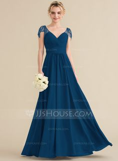 A-Line//Princess Full-Length Chiffon Evening Prom Bridesmaid Dress JS58 6-24