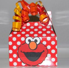 Elmo Party Favor Boxes Mini Red and White Polka by maniandme, $17.00