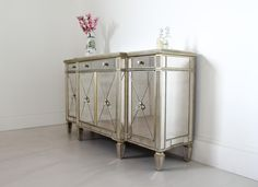Long Antique Mirrored Sideboard