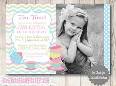 Tea Party Birthday Invitation  Girl  by gingercakegraphics on Etsy, $14.50