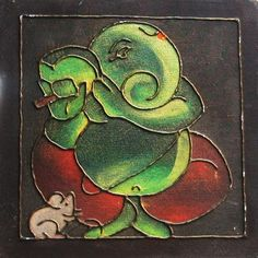 Ganesha painting on Canvas board - 4 - www.itshandmade.in