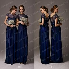 Discount 2014 Midnight Blue Lace Bridesmaid Dresses Sexy Cheap Illusion Crew Neck Short Sleeves Floor Length Chiffon Bow Tie Back Prom Gowns...