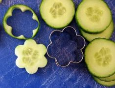 Cut cucumbers with cookie cutters for a unique look.  See more vegetable appetizer and party ideas at one-stop-party-ideas.com