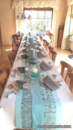 My table decoration for confirmation - Frisur Ideen Party Centerpieces, Centerpiece Decorations, Decoration Table, Wedding Decorations, Tiffany Blue Weddings, Tiffany Wedding, Gray Weddings, Teal And Grey Wedding, Napkin Folding