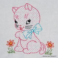 Vintage Plaid Kitty Cat Machine Embroidery Design 2 sizes 44 or 57 colorwork linework INSTANT DO Learn Embroidery, Machine Embroidery Patterns, Vintage Embroidery, Embroidery Stitches, Hand Embroidery, Embroidery Sampler, Cat Machines, Lazy Daisy Stitch, Vintage Elephant