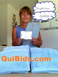 Janise used 8 voucher bids to win this towel set for only $0.19! #QuiBidsWin