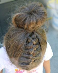 . شعر للأطفال bun مع ضفائر متميزة #Girl_Hairstyle