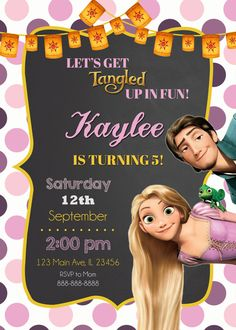 Rapunzel Tangled Invitation Rapunzel Tangled by MyFunPartyPrints