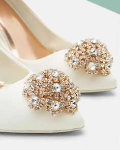 Brooch detail court shoes - Ivory | Shoes | Ted Baker