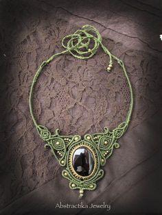 Gemstone statement necklace. Macrame necklace with black onyx. Goddess steampunk Boho Jewelry. Macrame. Earthy jewelry Bohemian