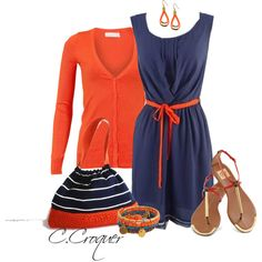 """""""Easy Orange & Navy"""" by ccroquer on Polyvore"""