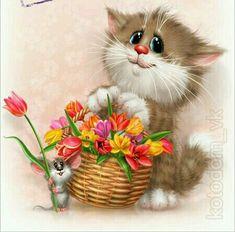 Litter Cleaning For Cats Cartoon Kunst, Cartoon Art, Cute Cartoon, Funny Animals, Cute Animals, Kitten Cartoon, Animal Sketches, Cute Illustration, Cool Cats