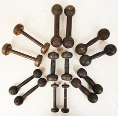 Antique Cast Dumbell Collection A collection of 7 sets of old antique and vintage dumbells.