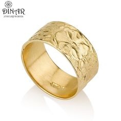 Spectacular flower k Gold wedding band wide wedding ring band Texture solid gold band