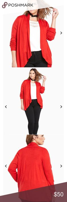 """*NEW WITH TAGS* Draped Open Front Cardigan *NEW WITH TAGS* How can you wear any other cardigan? You can't, this is the one you'll reach for every time you fly out the door. The red knit is surprisingly lightweight, getting some added flow from a voluminous draped open front.  * Measures 31"""" from shoulder * Acrylic  * Wash cold, dry flat torrid Tops Tunics"""