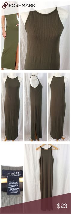 """Army Green Ribbed Maxi Dress NWOT - never worn. Full length straight cut dress with all-over vertical ribbing. High rounded collar, sleeveless design. Side slits (not as high as modeled!!) for comfortable movement. Rayon/spandex blend for additional curve hugging fit and comfort. Size L, 16.5"""" chest and 57"""" total length. Excellent condition. Dresses Maxi"""